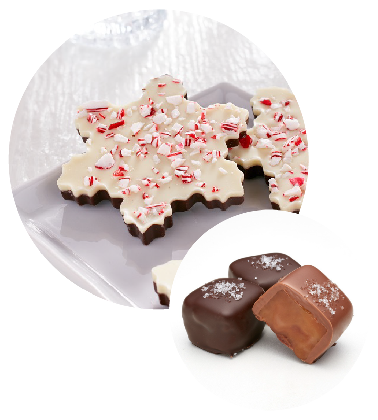 Peppermint Bark and Caramels