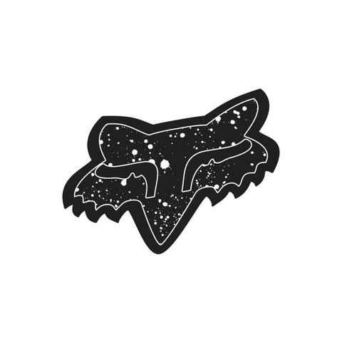 "Fox Head Splatter Sticker Accessories Stickers Fox 4"" Black"