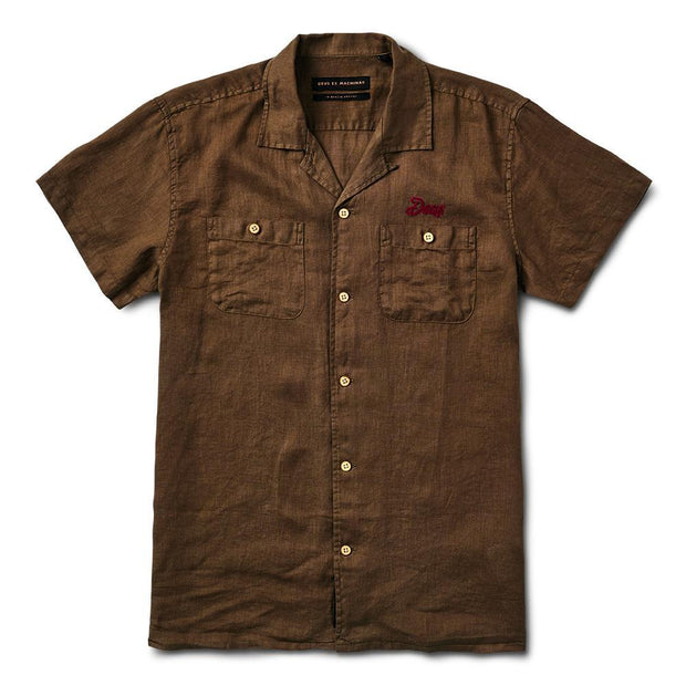 Dean Linen Short Sleeve Casual Mens Deus Ex Machina MD Olive