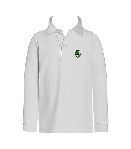 ACADEMICS WHITE GOLF SHIRT, UNISEX, LONG SLEEVE, CHILD
