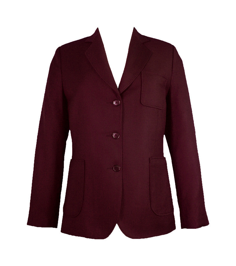 LADIES WOOL BLAZER, BURGUNDY BUTTONS, REGULAR