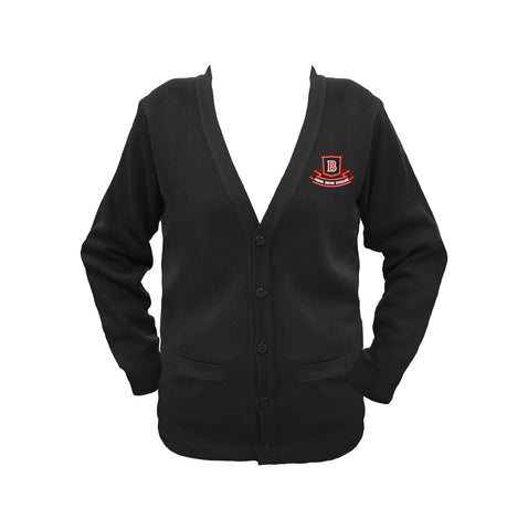 BROCKTON BLACK CARDIGAN, UP TO SIZE 42