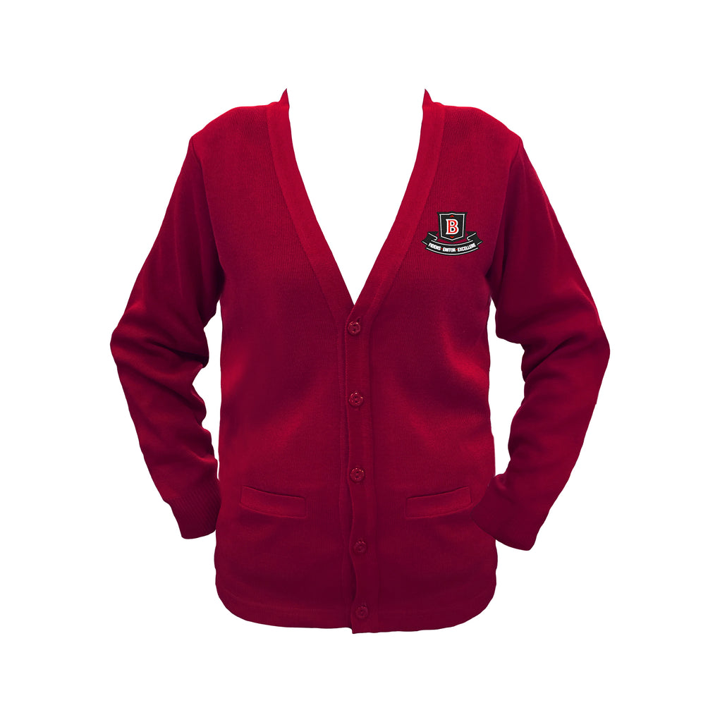 BROCKTON RED CARDIGAN, UP TO SIZE 42