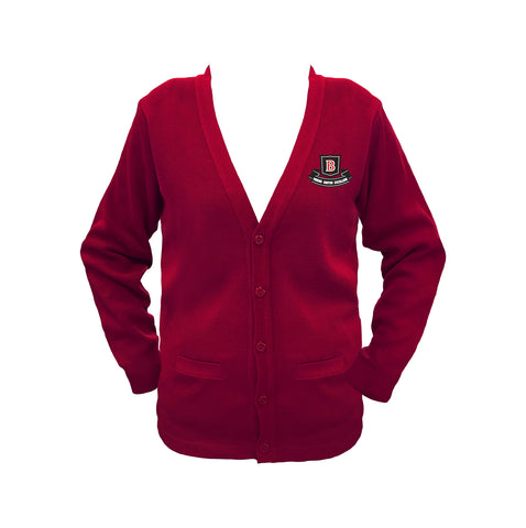 BROCKTON RED CARDIGAN, UP TO SIZE 32