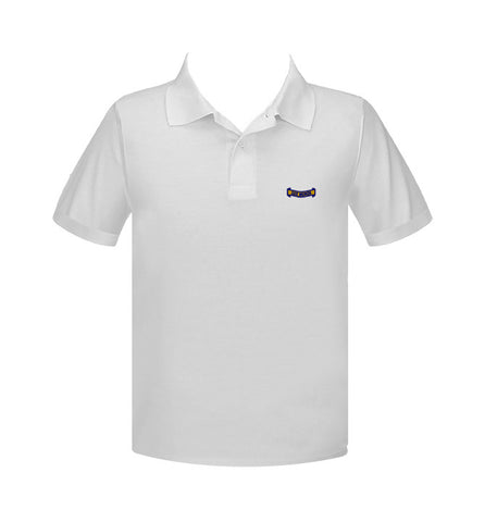 CATHEDRAL WHITE GOLF SHIRT, UNISEX, SHORT SLEEVE, YOUTH