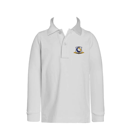 CHOICE SCHOOL WHITE GOLF SHIRT, UNISEX, LONG SLEEVE, CHILD