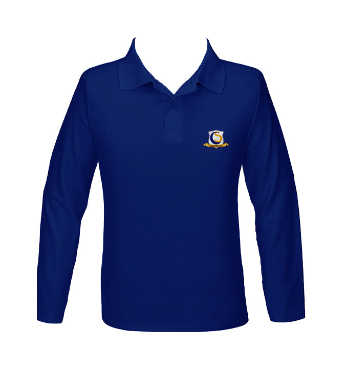 CHOICE SCHOOL ROYAL BLUE GOLF SHIRT, UNISEX, LONG SLEEVE, YOUTH