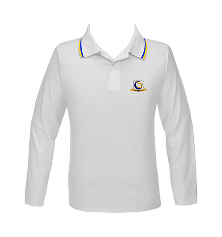 CHOICE SCHOOL WHITE GOLF SHIRT WITH PIPING, UNISEX, LONG SLEEVE, ADULT *DISCONTINUED*