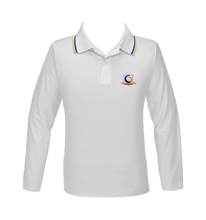CHOICE SCHOOL WHITE GOLF SHIRT WITH PIPING, UNISEX, LONG SLEEVE, YOUTH