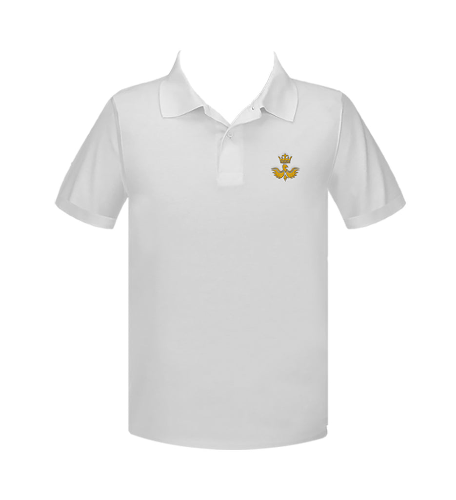 CANADA ROYAL ARTS WHITE GOLF SHIRT, UNISEX, SHORT SLEEVE, YOUTH
