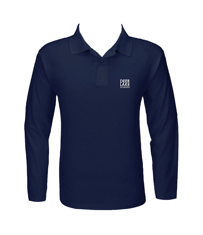 DEER LAKE NAVY GOLF SHIRT, UNISEX, LONG SLEEVE, CHILD