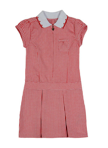 RED GINGHAM DRESS, DROPWAIST WITH FRONT ZIPPER, TODDLER