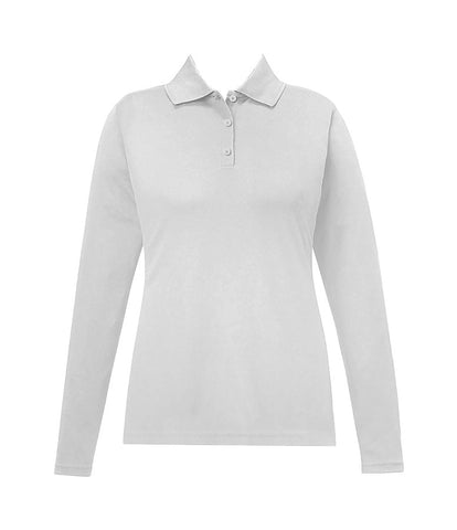 WHITE GOLF SHIRT, GIRLS, LONG SLEEVE, ADULT