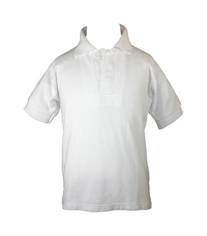 WHITE GOLF SHIRT, UNISEX, SHORT SLEEVE, CHILD