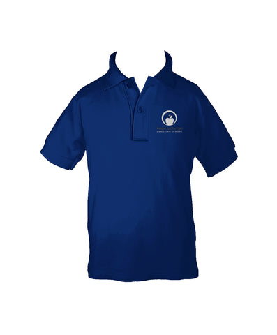 HOPE LUTHERAN ROYAL BLUE GOLF SHIRT, UNISEX, SHORT SLEEVE, CHILD