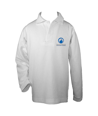 HOPE LUTHERAN WHITE GOLF SHIRT, UNISEX, LONG SLEEVE, CHILD