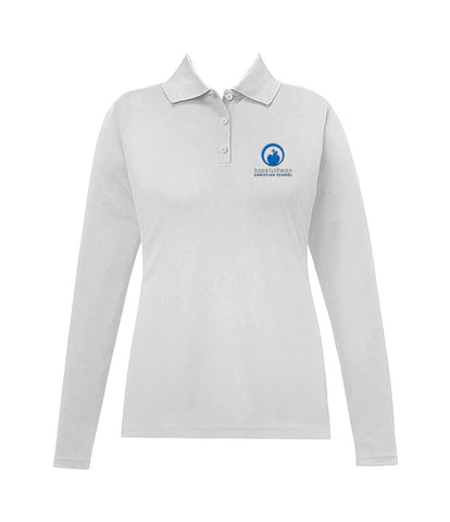 HOPE LUTHERAN WHITE GOLF SHIRT, GIRLS, LONG SLEEVE, ADULT