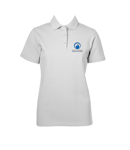 HOPE LUTHERAN WHITE GOLF SHIRT, GIRLS, SHORT SLEEVE, YOUTH