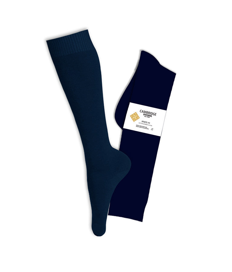 NAVY KNEE HIGH SOCKS, YOUTH