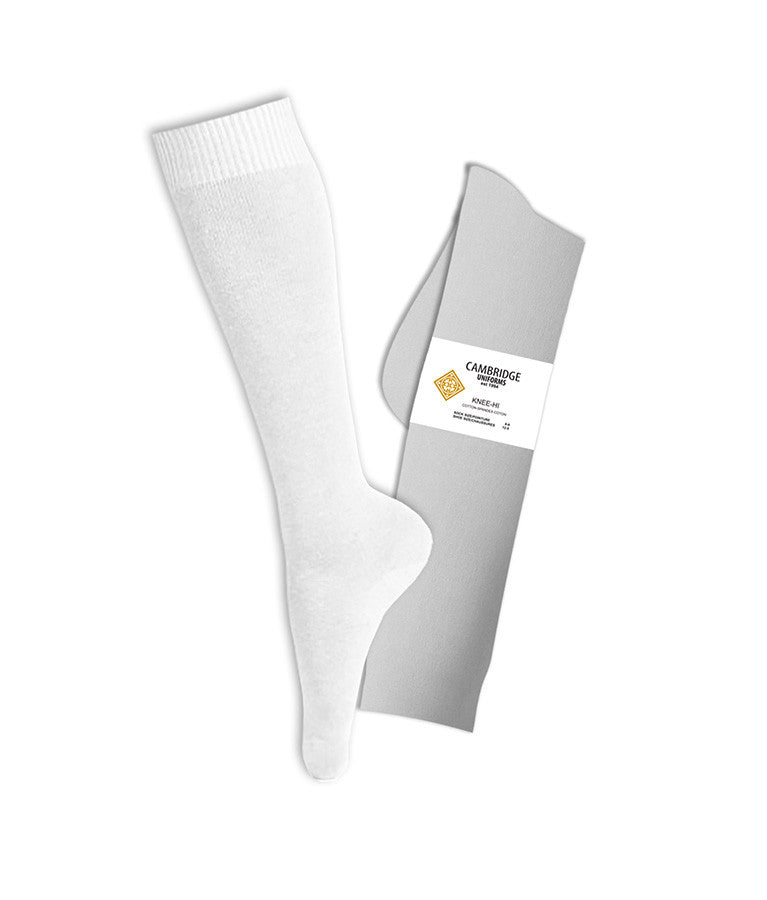 WHITE KNEE HIGH SOCKS, ADULT