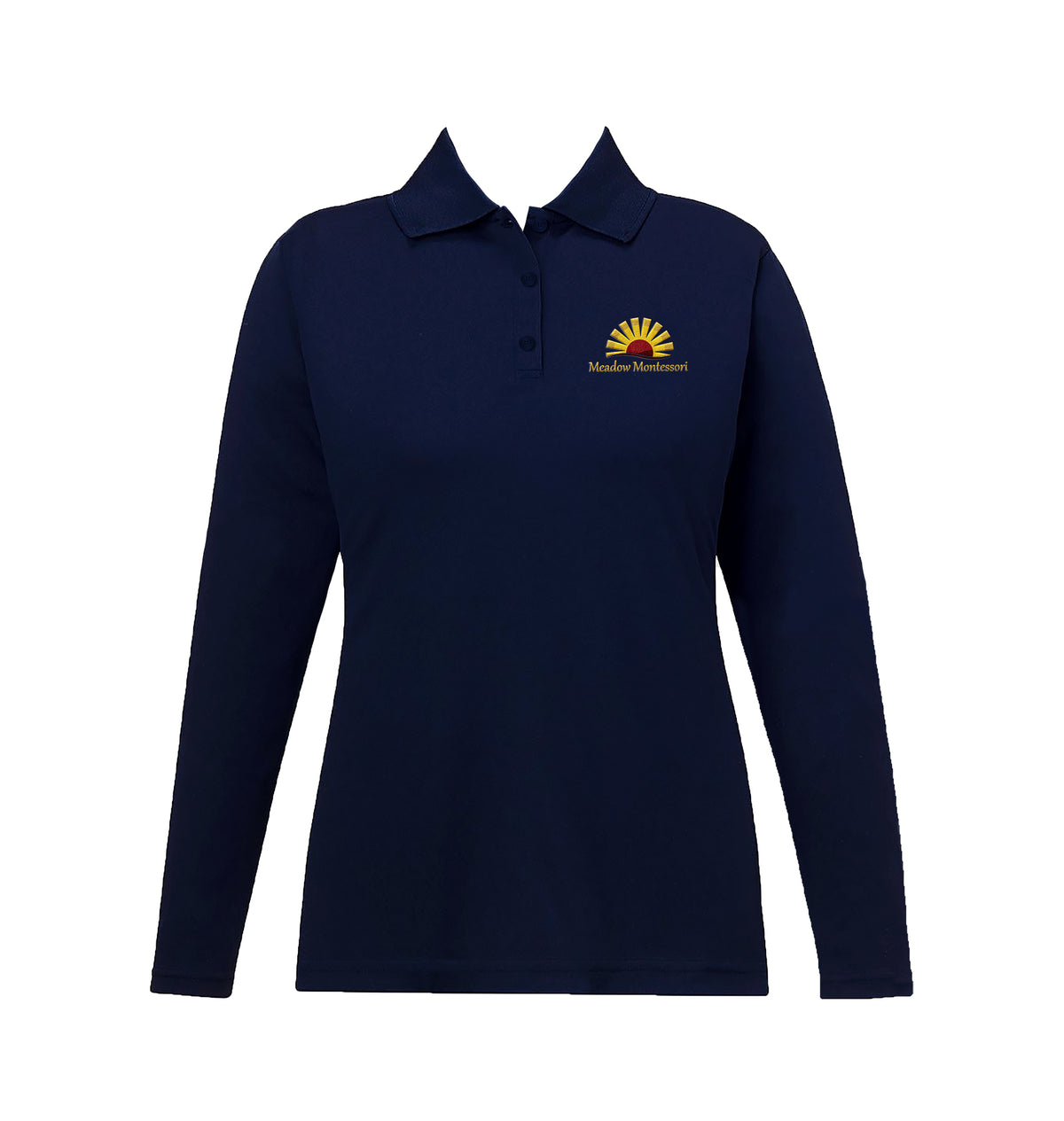 MEADOW MONTESSORI NAVY GOLF SHIRT, GIRLS, LONG SLEEVE, YOUTH