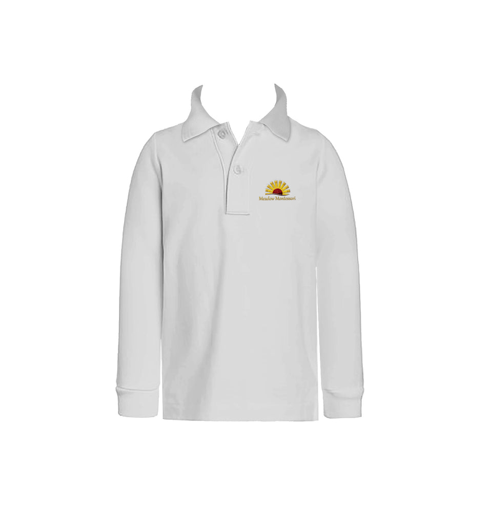 MEADOW MONTESSORI WHITE GOLF SHIRT, UNISEX, LONG SLEEVE, CHILD