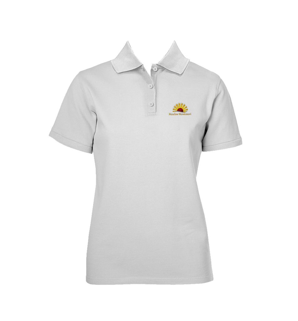 MEADOW MONTESSORI WHITE GOLF SHIRT, GIRLS, SHORT SLEEVE, YOUTH