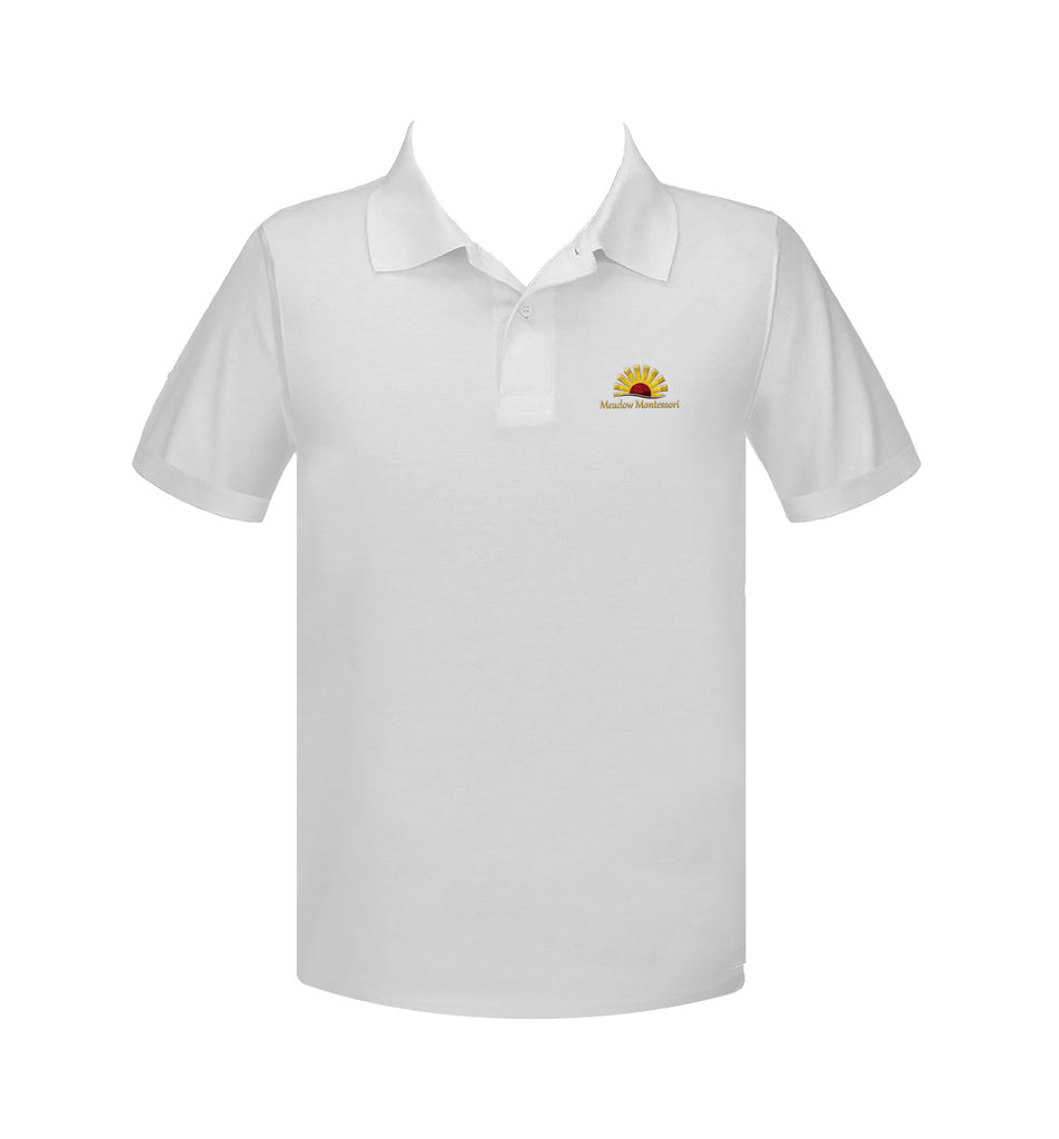 MEADOW MONTESSORI WHITE GOLF SHIRT, UNISEX, SHORT SLEEVE, ADULT