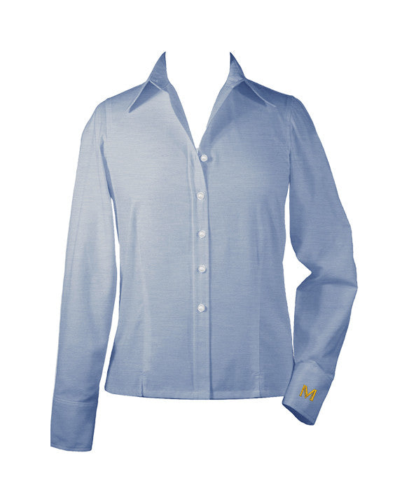 MULGRAVE LIGHT BLUE LADIES BLOUSE, LONG SLEEVE