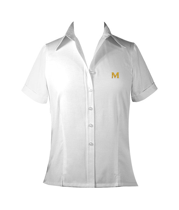 MULGRAVE WHITE LADIES BLOUSE, SHORT SLEEVE