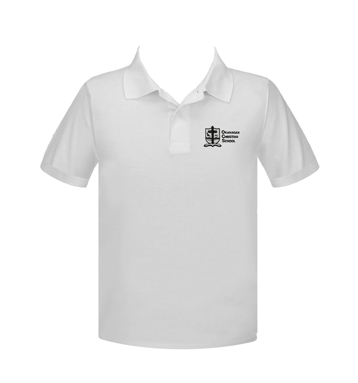 OKANAGAN CHRISTIAN WHITE GOLF SHIRT, UNISEX, SHORT SLEEVE, YOUTH
