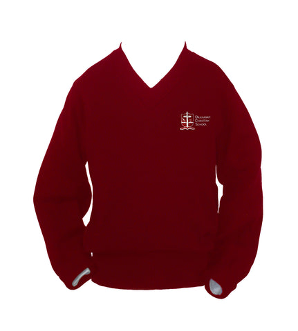 OKANAGAN CHRISTIAN RED PULLOVER, UP TO SIZE 42