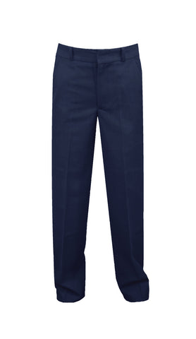 NAVY ADJUSTABLE WAIST PANTS, POLY/COTTON