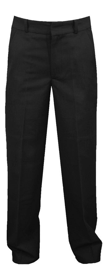 BLACK MENS REGULAR BACK PANTS, POLY/VISCOSE, SIZE 30 AND UP