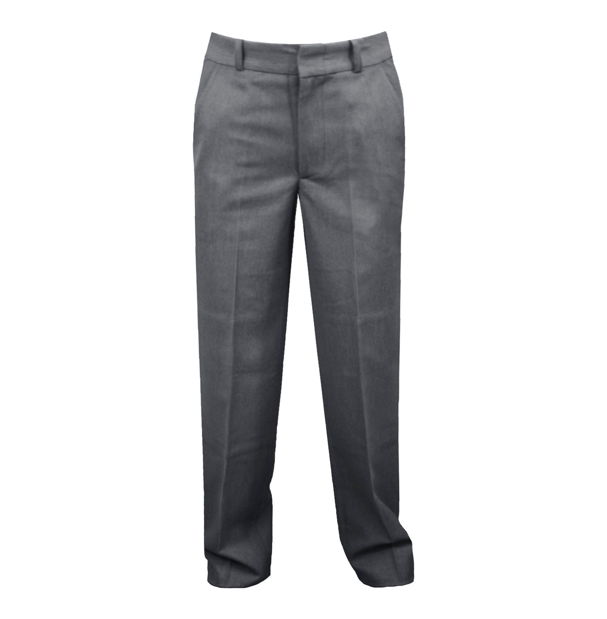 GREY MENS REGULAR BACK PANTS, POLY/VISCOSE, SIZE 30 AND UP
