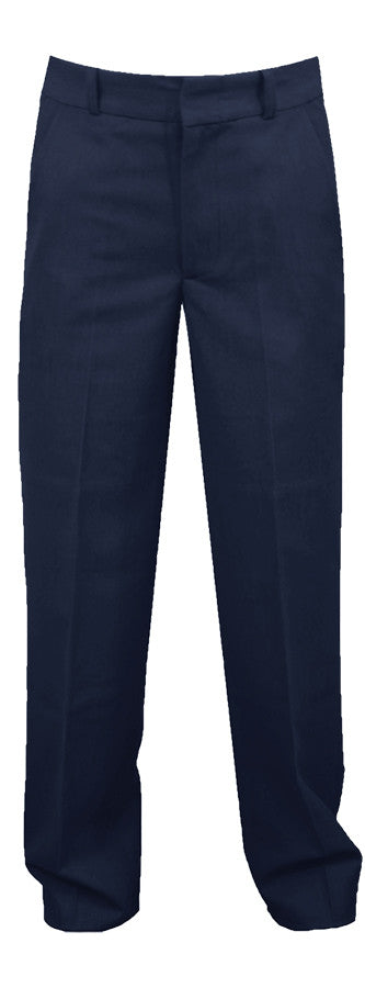 NAVY ADJUSTABLE WAIST PANTS, POLY/VISCOSE