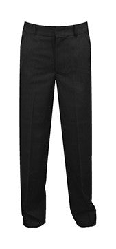 BLACK REGULAR BACK PANTS, BOYS SLIM CUT, POLY/VISCOSE