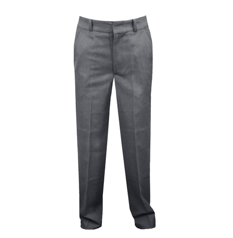 GREY REGULAR BACK PANTS, BOYS SLIM CUT, POLY/VISCOSE