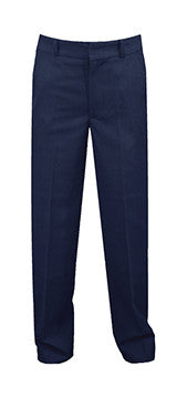 SLIM CUT, NAVY REGULAR BACK PANTS, POLY/VISCOSE, UP TO SIZE 32