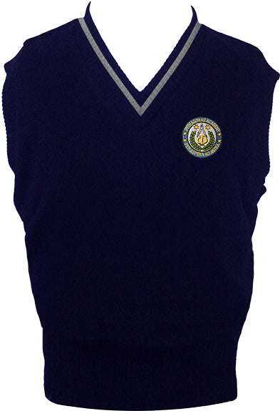 PYTHAGORAS NAVY VEST WITH LIGHT GREY PIPING, UP TO SIZE 42