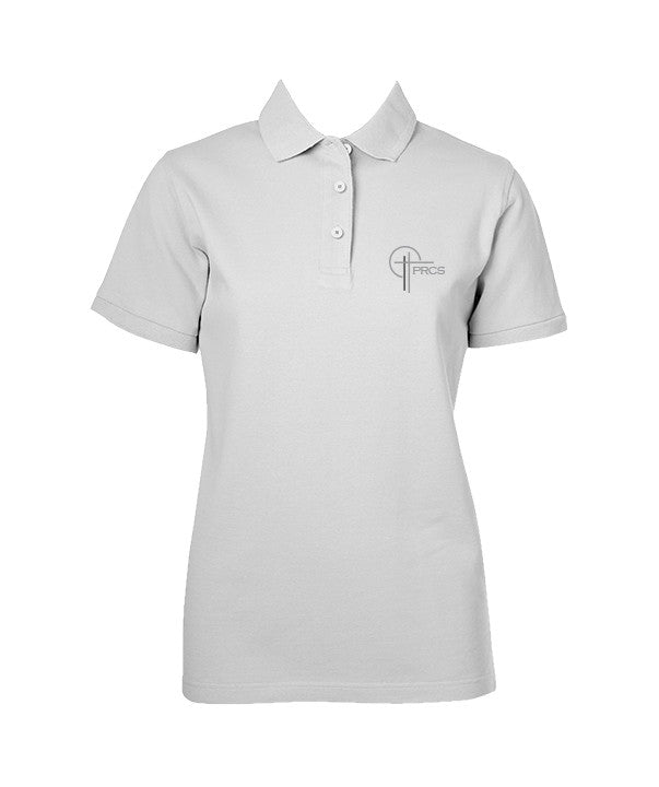 POWELL RIVER CHRISTIAN WHITE GOLF SHIRT, GIRLS, ADULT