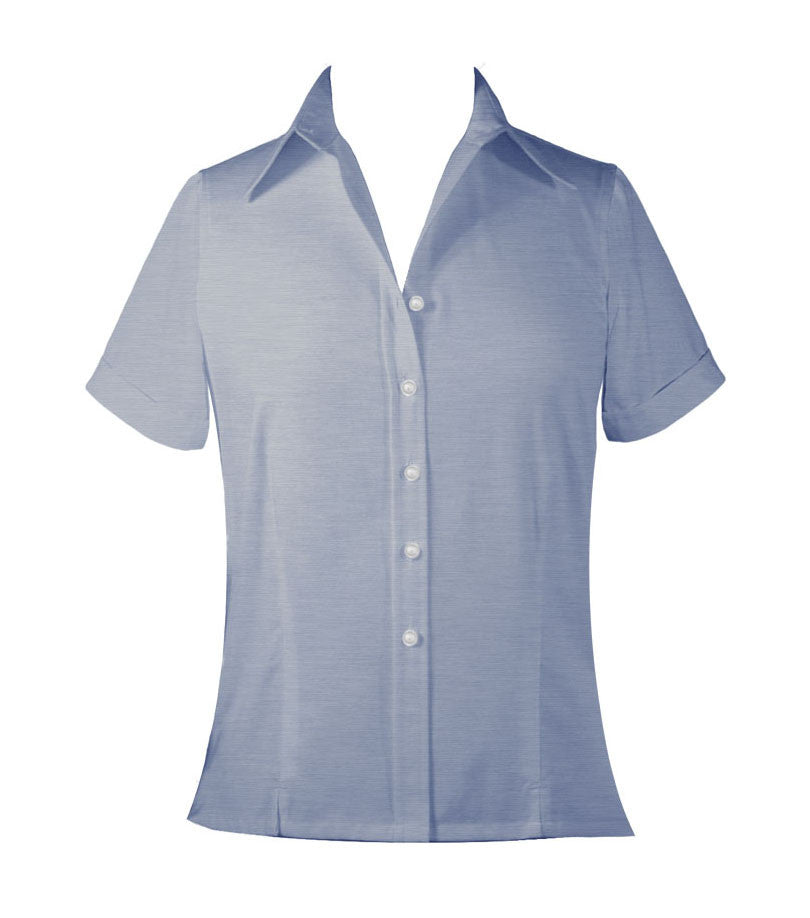 LIGHT BLUE LADIES BLOUSE, SHORT SLEEVE