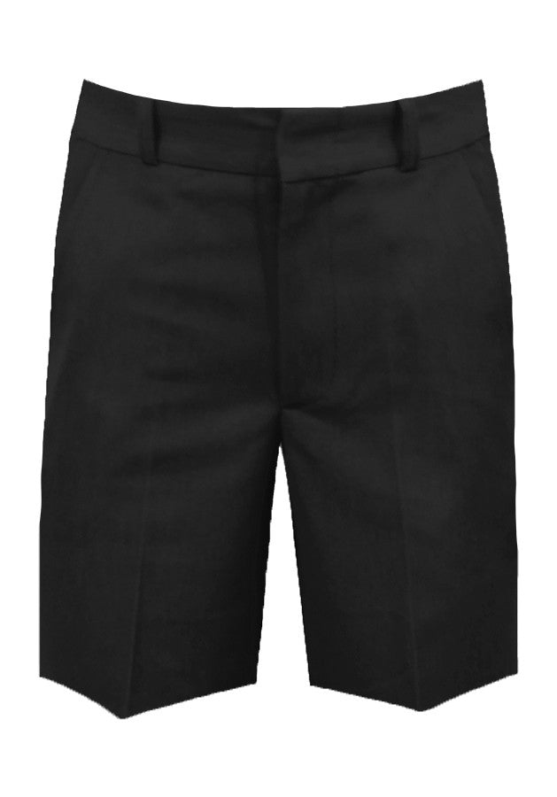 BLACK ADJUSTABLE WAIST SHORTS, POLY/COTTON, UP TO SIZE 32