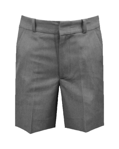 GREY ADJUSTABLE WAIST SHORTS, POLY/VISCOSE