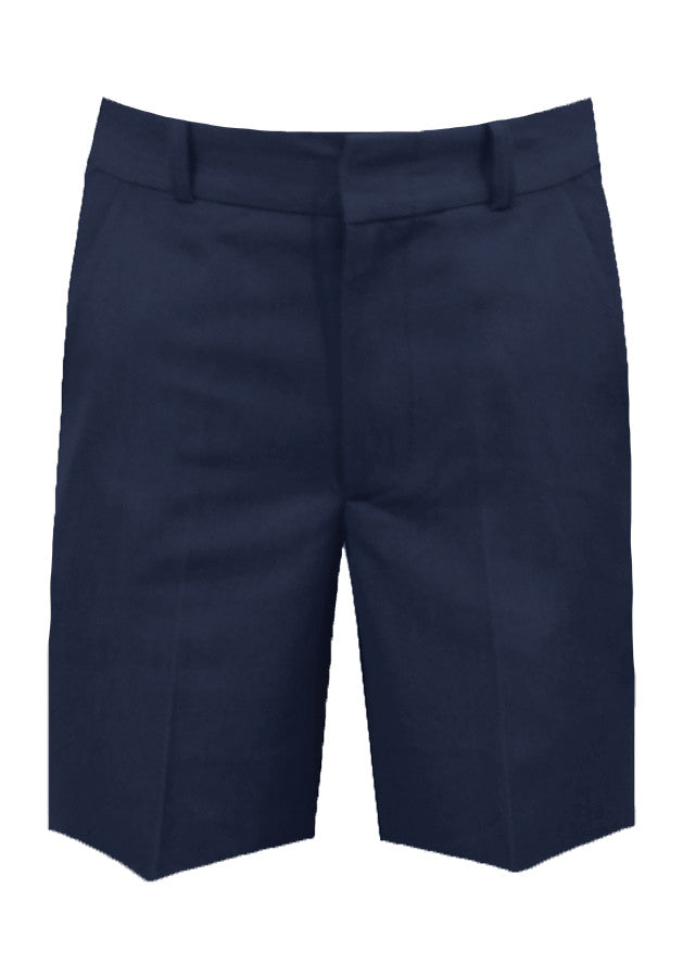 NAVY ADJUSTABLE WAIST SHORTS, POLY/VISCOSE, UP TO SIZE 32