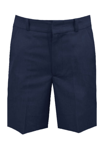 NAVY ADJUSTABLE WAIST SHORTS, POLY/VISCOSE, UP TO SIZE 33