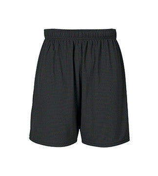 BLACK GYM SHORTS, WICKING, ADULT