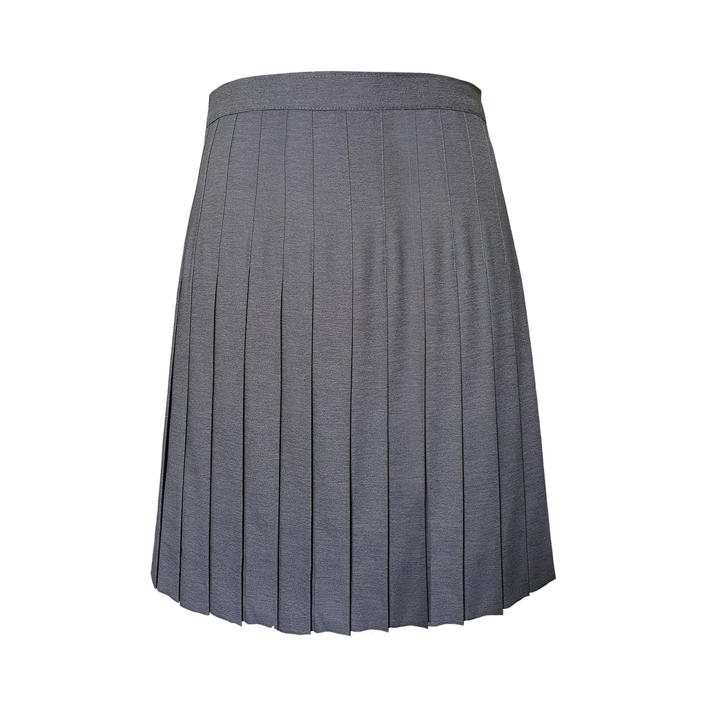 CUSTOM LENGTH GREY FULL PLEAT SKIRT, REGULAR BACK, UP TO SIZE 29