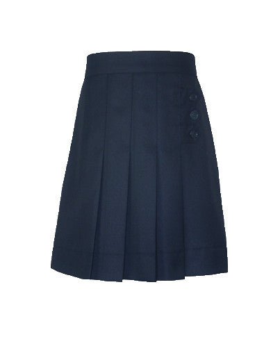 NAVY THREE BUTTON SKORT, ADJUSTABLE WAIST