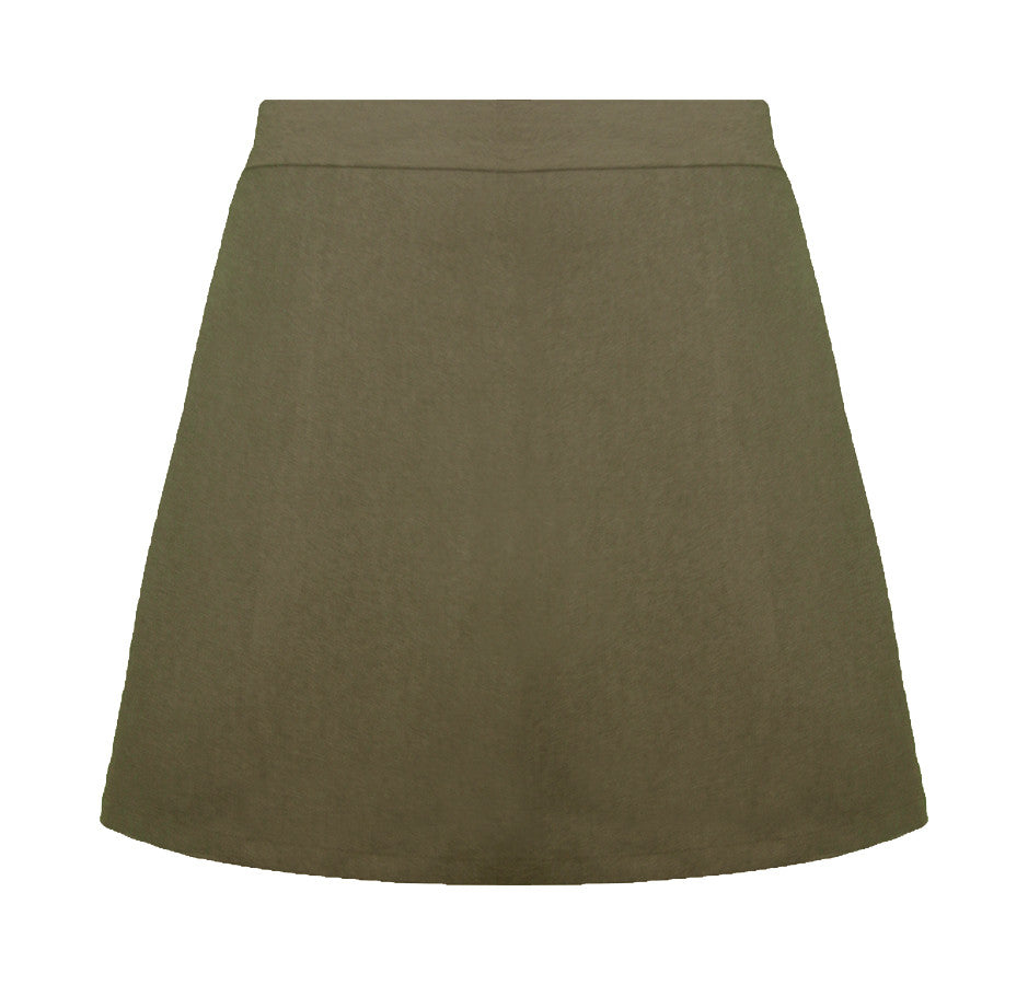 KHAKI ELASTIC BACK STANDARD SKORT, LADIES  <br><strong> FINAL SALE</strong>